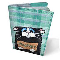 Обложка для паспорта кожаная Мудрый кот