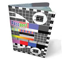 Обложка для паспорта кожаная Телевизор