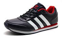 Кроссовки Adidas Classic мужские кожаные темно-синие/ красные вставки/белая подошва, фото 1