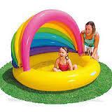 Надувной детский бассейн с тентом Ракушка Intex 57420 Rainbow Shade Baby Pool (155х135х104 см.)