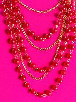 Бусы красные бижутерия жемчуг с цепочками