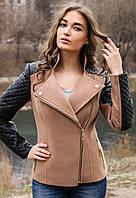 Пальто кашемировое с кожаными рукавами Николь кофе с молоком