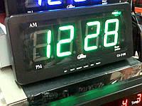 Часы для автобуса или офиса caixing cx-2159, электронные, светодиодное табло, зелёный цвет, питание 220в/12в