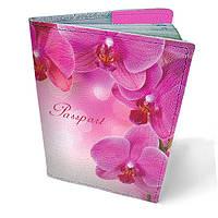 Обложка для паспорта кожаная Загадочные орхидеи