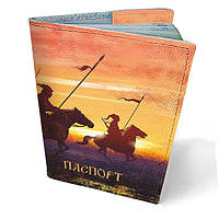 Обложка для паспорта кожаная Козаки на конях
