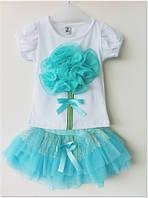 Летний комплект футболка с цветком и юбка ту-ту для девочки 1-7 лет