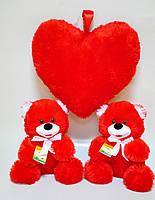 """Мягкая игрушка . Медведь""""Веселун Валентин"""" 29 х 27 красный"""
