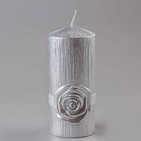 """Свадебная свеча """"Чайная роза"""" серебро"""
