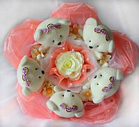 Букет из мишек Персиковый десерт