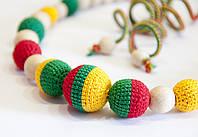 """Коллекция """"Ямайка"""" красно-желто-зеленого цвета: бусы, браслеты, серьги"""