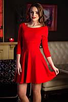 Платье классическое с длинным рукавом и юбкой полу-клёш 3 цвета