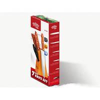 Ножи кухонные + подставка peterhof sn-2203, набор из 5-ти штук, ножницы, сталь 18/10, с деревянными ручками