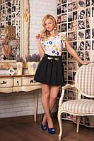 Женский модный красивый костюм двойка блуза+юбка р.42,44,46 креп-шифон+стеганный трикотаж