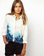 Блуза  Голубой цветок, рубашка шифон, блуза рубашка, шифоновая рубашка, шифонова блузка
