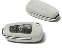 Кожаный чехол на штатный ключ зажигания Audi цвет pearl silver