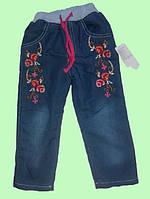 """Джинсы для девочки утепленные махрой """"Розы"""" размер 104,110,116,122 см"""