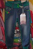 Брюки джинс+трикотаж на девочку(4-12)