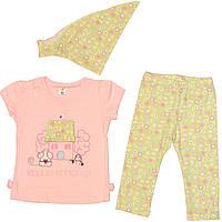 Костюм для девочки, летний, розовая футболка, салатовые лосины и косыночка, рост 80 см, 1 год, ТМ Фламинго
