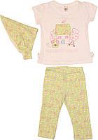 Костюм летний для девочки, белая футболочка, салатовая косыночка и брючки, рост 80 см, 86 см, ТМ Фламинго