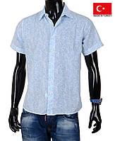 Однотонная мужская рубашка с коротким рукавом,