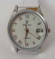 Женские наручные часы Rolex 012945 серебристые с белым ремешком, календарь, линза