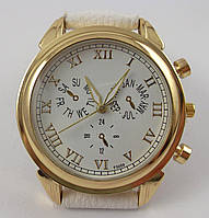 Часы женские наручные артикул F5059 золотистые с белым ремешком