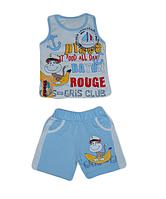 Детский костюм для мальчика шорты и майка голубой с обезьянкой Турция