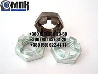 Гайки корончатые низкие М27 нержавеющие DIN937, сталь А2, А4. Гайка корончатая низкая.