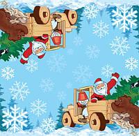 Салфетки декупажные Дед Мороз везёт ёлку 324
