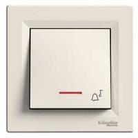 """Выключатель - кнопка """"Звонок"""" с подсветкой кремовый Schneider Asfora (EPH1700123)"""