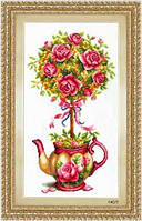 Набор для вышивания крестом «Горшок с розами» DOME 70303
