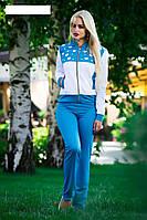 Бело-голубой женский спортивный костюм