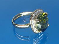 Кольцо «Арника» с устойчивым покрытием золота, стразами и цирконием (шампань).