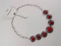 Колье 012954 с бирюзой красного цвета