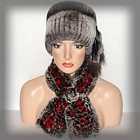 Меховой шарф из Rex Rabbit ( серо-красный)