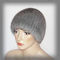 Меховая женская шапка из серой норки (нашивка)