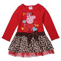 Детское красное платье с длинным рукавом Свинка Пеппа