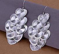 Нежные  сережки сердце из стерлингового серебра 925 пр.