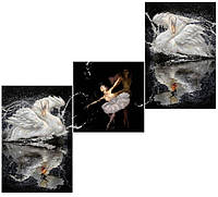 """Схема для вышивки бисером Триптих """"Лебединое озеро"""""""
