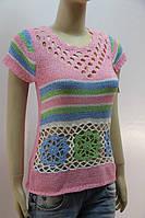 Цветная женская футболка с ажурной вязкой