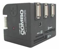Хаб Gembird UHB-FD1; USB 2.0; 3 порта; картридер; CF, MS, SD/MMC, XD