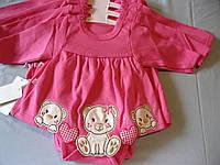 Детское боди- платье с длинным рукавом  для маленькой девочки, Мишки,50-56  Турция .Оптом и розница