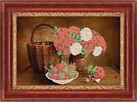 Схема для вышивки бисером Натюрморт розы с клубникой