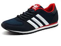 Кроссовки мужские летние Adidas Classic, сетка/ нубук, темно-синие/ красные/ белые, фото 1