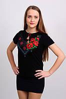 Женская футболка с вышивкой гладь+крестик, черная
