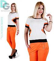 Легкий летний костюм футболка и бриджи оранжевый