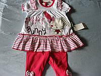 Детский комплект летний для маленькой девочки, зайка, туника и бриджи. 68-74 см   урция