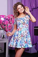 Платье Милава к/р белое с голубыми цветами мини жаккардовое приталенное с юбкой клёш