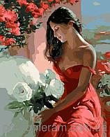 Картина по номерам Menglei Девушка с белыми цветамиMG1085 40 х 50 см