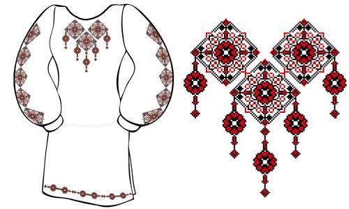 Схемы вышивки женских платьев